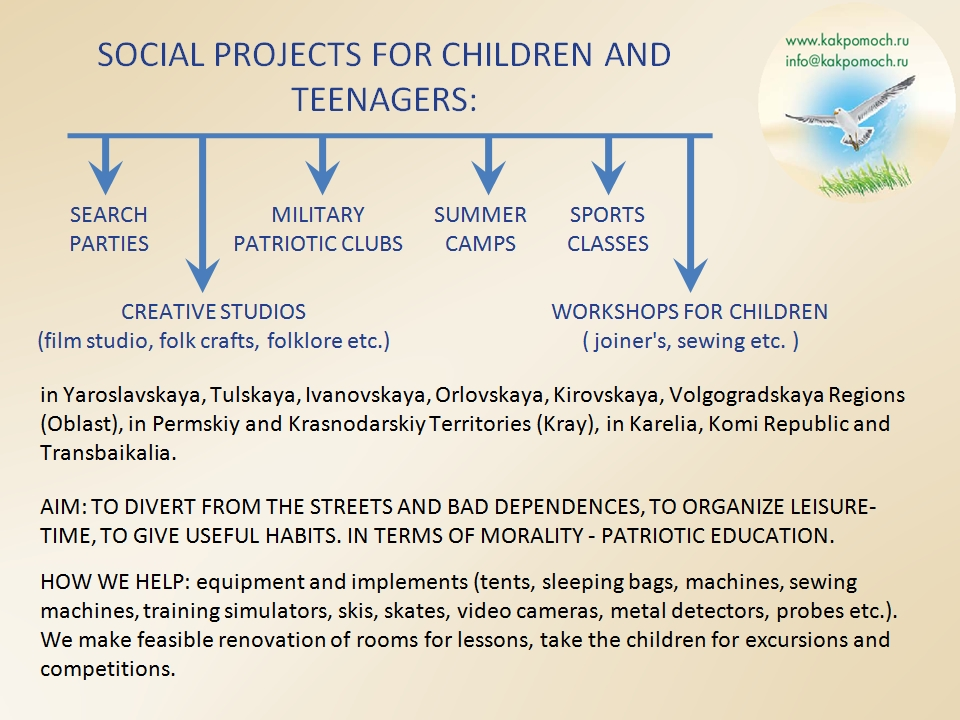 SOCIAL PROJECTS FOR CHILDREN AND TEENAGERS
